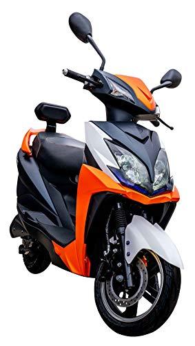 Elektroroller FALCON, 3400 Watt, E-Scooter, Elektro-Roller, E-Roller mit Straßenzulassung, 45 km/h, herausnehmbarer Lithium-Akku, 80 km Reichweite, Produktvideo, Orange