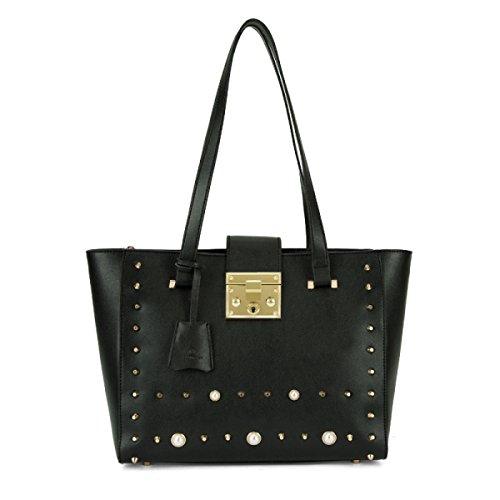 Fabelhaft Neue Art- Und Weisebeiläufige Schulter-Beutel-personifizierte Niet-feste Farben-Einkaufstasche Black