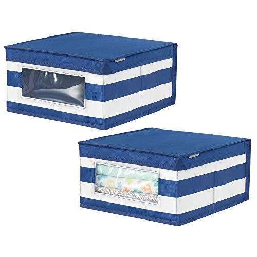 Mdesign contenitori per armadi e non solo – scatole biancheria, scarpe, coperte o accessori neonato – scatole armadi o anche portagiochi – blu/bianco - set da 2