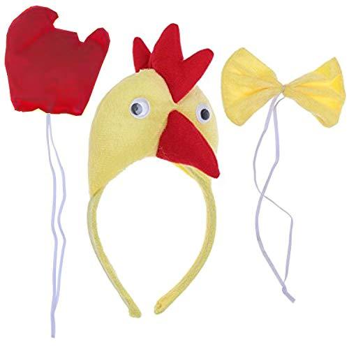 Gallo - Set Cerchietto - Coda - Papillon - Animali - Donna - Bambini - Costume Travestimento Carnevale Halloween Cosplay Accessori - Idea Regalo