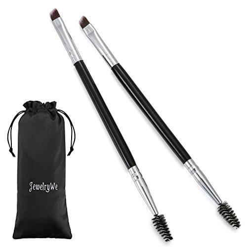 JewelryWe 2PCS Pinceaux Maquillage bambou poignée Double Sourcils Brosse + peigne sourcils