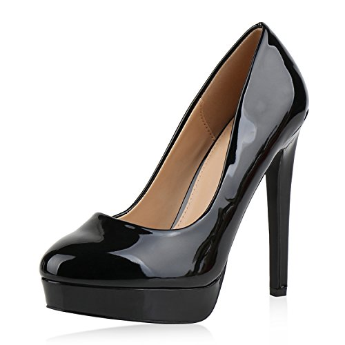 Damen Pumps High Heels Plateaupumps Lack Stiletto Elegante Schuhe Schwarz Black 38