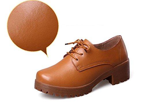 LDMB Frauen wasserdichte Plattform flachen Mund Hang heeled Kreuzriemen Schuhe Brown