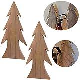 LS-LebenStil 2X XL Design Deko Holz Weihnachtsbaum Set 33cm Braun Tannenbaum Holz-Baum X-Mas
