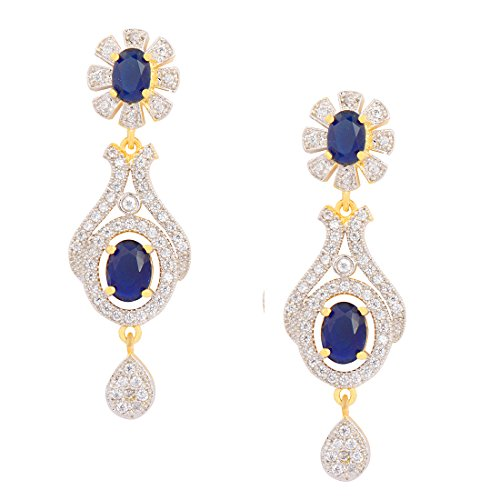 STRIPES Golden Colour, American Diamond Blue Stone Earrings for Girls