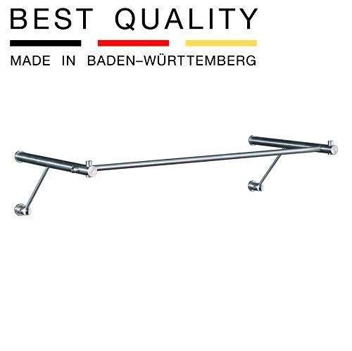 PHOS Edelstahl Design, G3-600, Wandgarderobe, 64 cm Gesamtbreite, sehr stabile Ausführung, hochwertigster Edelstahl matt geschliffen, inkl. Montagematerial, Hängegarderobe, Wandpanel, Metall, zeitlos