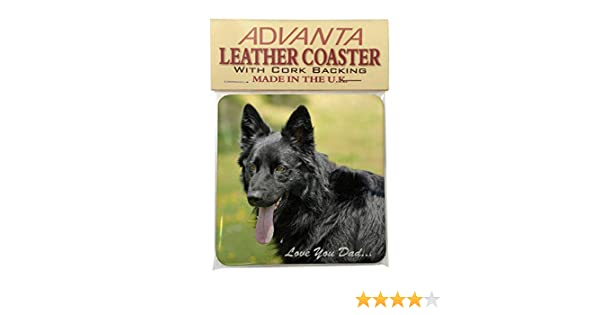 DAD-45SC Black German Shepherd /'Love You Dad/' Single Leather Photo Coaster Anim