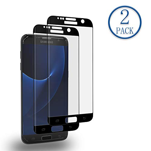 galaxy s7 edge panzerglas Mr.Twinklelight Samsung Galaxy S7 Edge Panzerglas Schutzfolie [2 Stück][3D-Kurven-fit] Anti-Kratzen, Anti-Fingerabdruck, Panzerglasfolie Displayschutzfolie für Samsung Galaxy S7 Edge-Schwarz