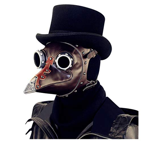 Quner Halloween Maske, Pest Vogel Doktor Schnabelmaske PU Pest-Maske Halloween Cosplay ,Retro Felsen Party Masken Kostüm Dekoration (Schwarz)
