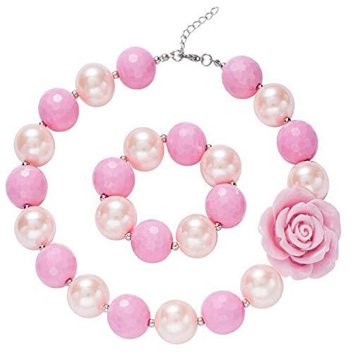unky Schmuck Rainbow Halskette Armband Set Acryl Bubblegum Perlen für kleine Mädchen verkleiden sich in Candy Zinn Box Storage (Rosa) ()