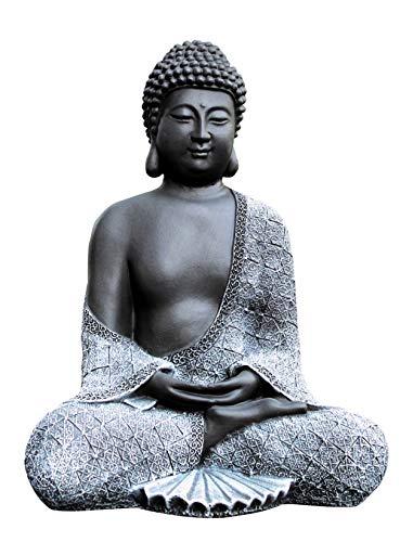 Tiefes Kunsthandwerk Buddha Figur aus Stein sitzend in Schiefer, Grau, Statue frostsicher und wetterbeständig für Garten und Balkon, handgefertigt in...