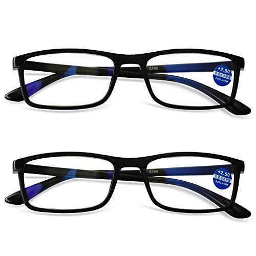KOOSUFA TR90 Lesebrille Anti-Blaulicht Computer Sehhilfe Lesehilfe Rechteckig Leicht Vollrandbrille Nerdbrille für Herren Damen von 1,0 1,5 2,0 2,5 3,0 3,5 4,0 (2x Schwarz, 2.0)