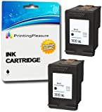 Printing Pleasure 2 XL Compatibili HP 300XL Cartucce d'inchiostro Sostituzione per Deskjet D1660 D2530 D2545 D2560 D2660 D5560 F2420 F2480 F4280 F4580 Photosmart C4780 C4680 - Nero, Alta Capacità