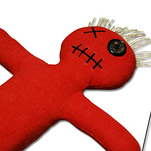 Mojo Doll red - Voodoo Puppe mit Nadel und Ritual-Anleitung