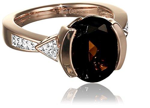 Diamonds by Ellen K. Damen Ring 9 Karat 375 Gold rot teilrhodiniert Quarz Rundschliff braun Diamant 0.04 ct Gr. 60 (19.1) 316370010-2-019