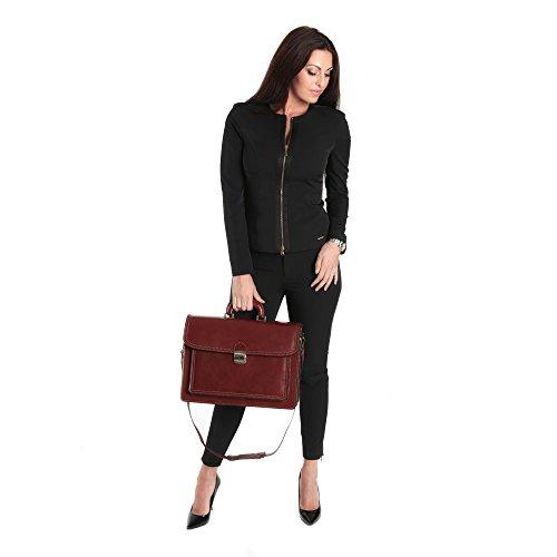 Portadocumenti in pelle italiana, Cartella Ventiquattrore Borsa da Lavoro Uomo Donna Made in Italy 39x30x18 Cm Marrone