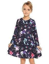 Kleid Mädchen Langarm Einhorn Meerjungfrau Blumen Herbst Karikatur Prinzessin T-Shirt Kleider Freizeitkleidung, Muster 3, 120 / 5-6 Jahre