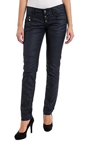 Timezone Damen Slim Jeans New KairinaTZ 9187 Coated Black, Schwarz, W27/L30 (Herstellergröße: 27/30)