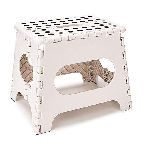 zoujun Leichter Klappstuhl für Kinder oder Erwachsene Sicherer tragbarer Klappstuhl aus Kunststoff mit Griff Rutschfester Badezimmerhocker Weiß