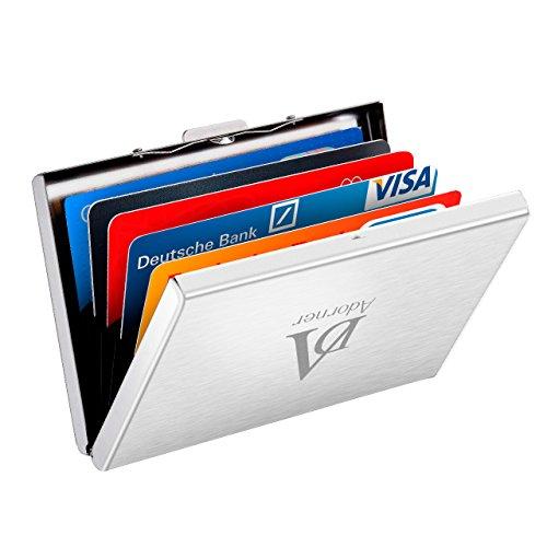 ATMOKO Kreditkartenetui 6 Kartenetui RFID Blocker Scheckkartenetui Visitenkartenetui Credit Card Metall Kreditkartenetui Kartentasche Bankkartenetui Kreditkartenbox für Damen und Herren (Silber)
