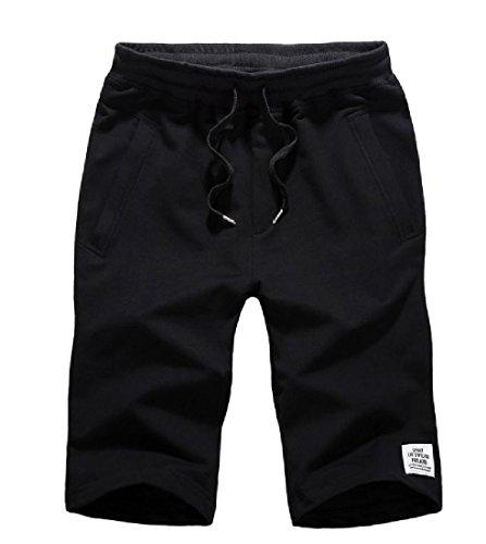 CuteRose Men's Cotton Leisure Sports Classics Regular Shorts Pants 4XL Black