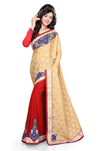 SOURBH Women's Jacquard,Faux Georgette Saree (137_Beige,Red)  available at amazon for Rs.995