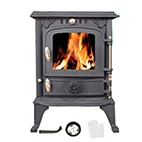 Cast Iron Log Burner MultiFuel Wood Burning 4 kw Stove WoodBurner JA013S