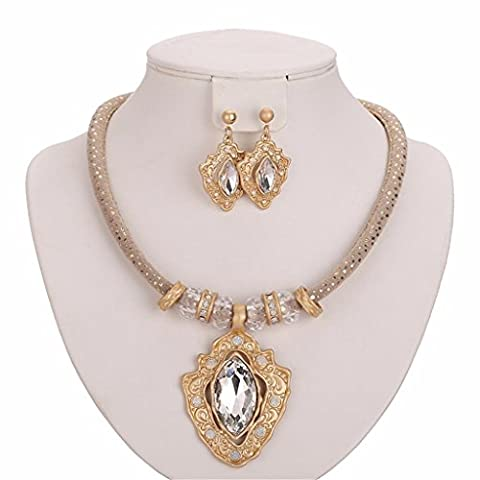 Moochi 18K Gold Plated Crystal Pedant Necklace Earrings Jewelry Set Shinning Luxury Costume Show Wedding