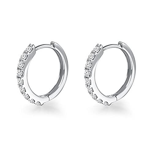 18 ct 750 White Gold Diamond 10MM Huggie Creole Hoop Hinged Earrings (0.27 cttw, H-I Color, SI2-SI3 Clarity) Women Jewellery Anniversary Wedding Gift