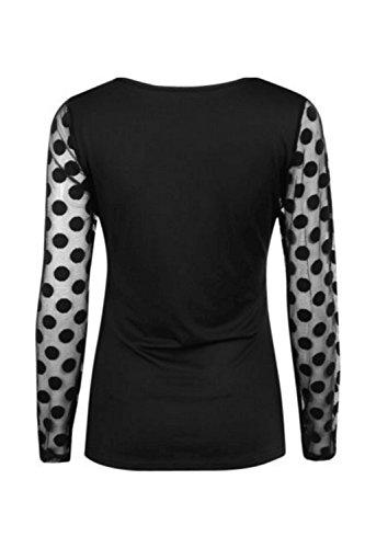 Frauen - Mesh - Patchwork - Polka - Dot - T - Shirt Sehen, Durch. Black