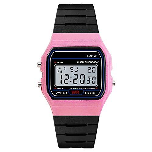 LABIUO Herren Analog Digital Watch LED Licht Wasserdichte Gummi Armbanduhr(Rosa,Freie Größe)