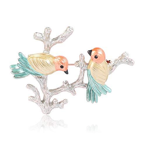 Chakil 1 Stück Twig Legierung Brosche Perle Brosche Zwei Vogel Form Brosche Retro Brosche -