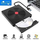 Externes CD DVD Laufwerk,Moocoo USB 3.0 und Typ-C-Schnittstelle Tragabar Externe DVD-RW DVD/CD Brenner und -Leseger?t kompatibel mit Win10 /8/7/XP, Laptop, Mac/MacBook Air/Pro/iMac/PC-Schwarz