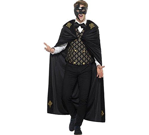 Fancy Dress Phantom Oper Der Kostüm - Smiffys Herren Deluxe Phantom Kostüm, Umhang, Weste und Fliege, Größe: L, 48031
