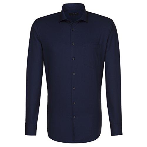 SEIDENSTICKER Herren Hemd Modern 1/1-Arm Bügelfrei Streifen City-Hemd Kent-Kragen Kombimanschette weitenverstellbar dunkelblau (0019)