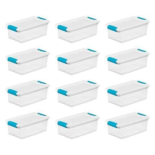 Sterilite 6-quart klar und blau stapelbar Latching Aufbewahrungsbox Container (12Stück) (Sterilite Aufbewahrungsbox)