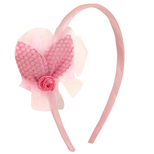 NeedyBee Hair Band For Toddlers/Newborns/Kids/Baby Girl With Flower Net Bow (Kids Hair Accessories) (Light Pink)