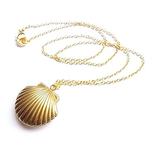 Adecco LLC Sea Shell Locket, Mermaid Valentine Necklace, Beach Locket, Gold Tone Brass, Little Shell Locket, Nautical Jewelry by Adecco LLC