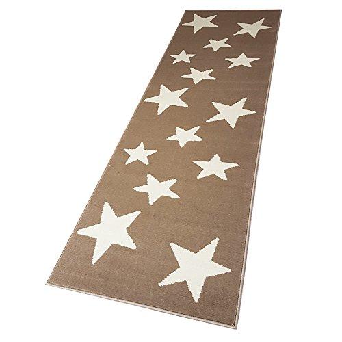 Moderner Läufer Teppich Brücke Teppichläufer Sterne Stars beige/creme ca. 80x250 cm