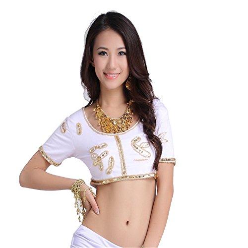 Women Sexy Dance Tops Bauchtanz Costume Bead Embroidered Short Top Dancewear Bauchtanz Tops White