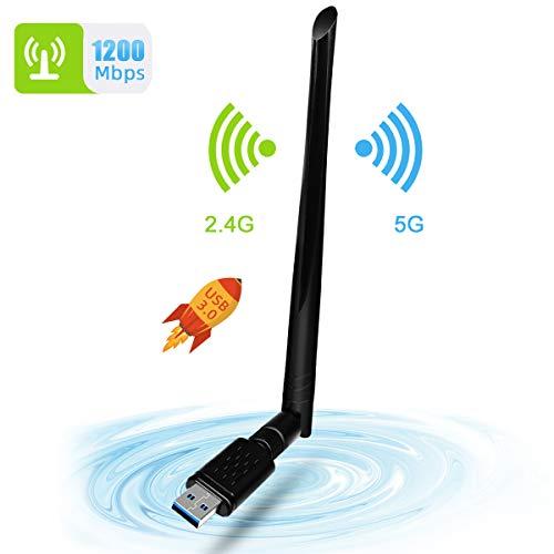 WLAN Stick, NINECY 1200Mbit/s Dualband (5G/867Mbps+2.4G/300Mbps) WiFi Adapter USB 3.0 WiFi Dongle Wireless WLAN Empfänger mit 5dBi Antenna für Windows/Mac OS/Linux/Desktop/Laptop/Notebook -