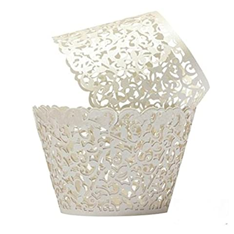Cupcake Wrappers 100 Filigree Artistic Bake Cake Paper Cups Little Vine Lace Laser Cut Liner Baking Cup Muffin Case Trays for Wedding Party Birthday Decoration (Cream White)