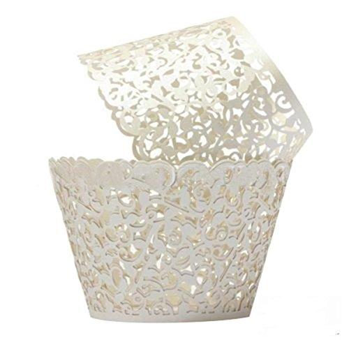 Cupcake Wrappers 100 Filigree Künstlerische backen Kuchen Papierbecher kleine Rebe Spitze Laser Cut Liner Baking Cup Muffin-Kasten Untersatz für Hochzeit Geburtstag Dekoration (Creme Weiß)