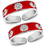 MJ Red Enamel Band Design Comfortable Toe Rings in Pure 92.5 Sterling Silver for Women