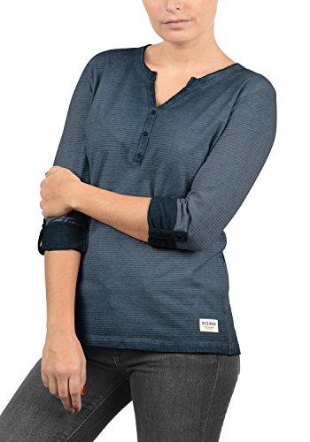 DESIRES Karina Damen Longsleeve Langarmshirt mit Rundhals-Ausschnitt und Knopfleiste aus 100% Baumwolle Insignia Blue (1991)