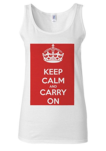 Keep Calm And Carry On London White Women Vest Tank Top **Blanc
