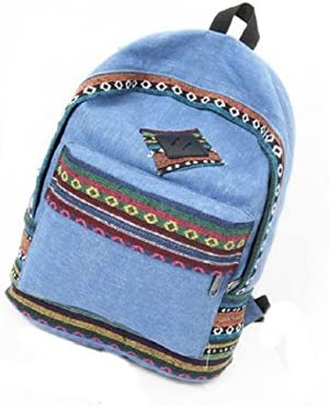 Malloom® mochila de lona floral retro étnico raya hombro escuela bolsa de viaje