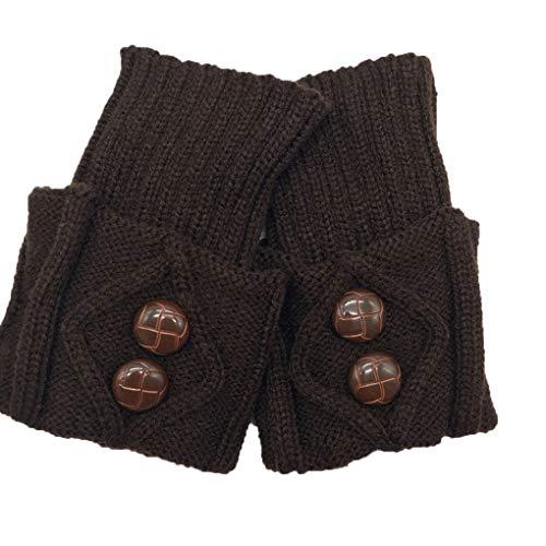 fish 1 Paar Frauen-Winter-Short-Bein-Wärmer-Herbst-Mode-Knopf Häkelarbeitknit Stiefelsocken Toppers Cuffs -