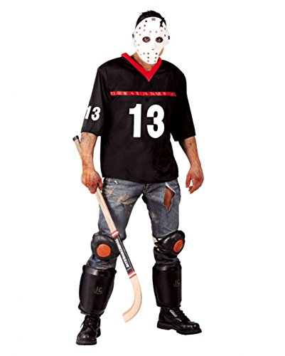 (Horror Eis-Hockey Zombie Sportler Kostüm mit Maske für Halloween Partys One Size)