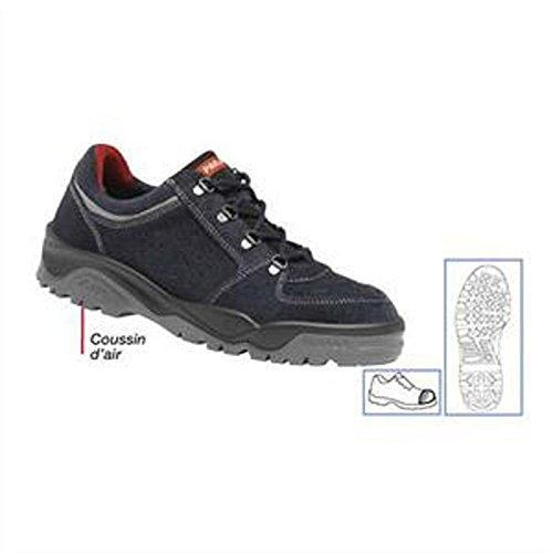 Paire de Chaussures Trekking basse, croûte de cuir avec renforts latéraux Pointure 45 bleu marine